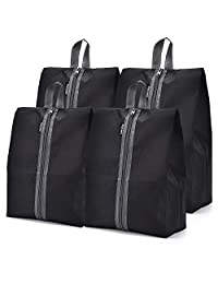 Ultimate Shoe Storage Organizer Bags Set, 2 x Standard & 2 x XL Portable Shoe Travel Bags, Waterproof Nylon Fabric Construction, Easy-To-Clean, Convenient Handle & Sturdy Zipper (Black)
