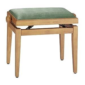 Stagg - Banqueta para piano (madera mate y pana fina), color nogal claro y verde