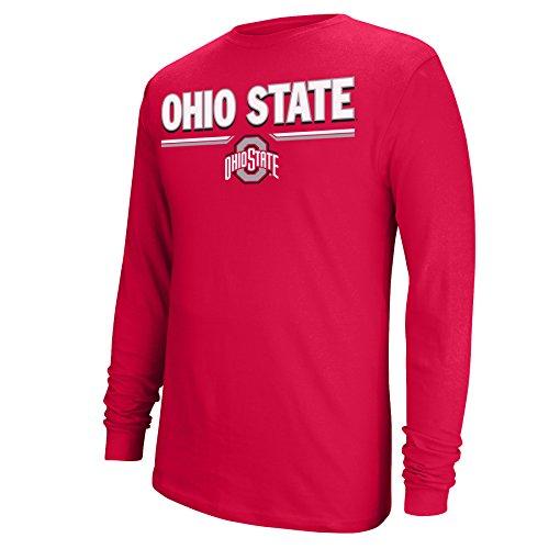 J America NCAA Ohio State Buckeyes Men's College Long Sleeve Choice Tee, Red, Large