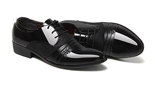 Casual Shoes Mesh Insert Men's Patent Breathable Dress Business 2017 Leather Black Formal UvYwSUq