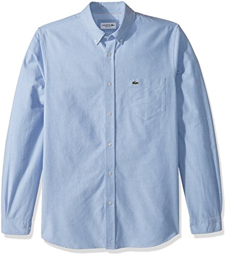 26113828 Lacoste Men's Long Sleeve Oxford Button Down Collar Regular Fit Woven Shirt,  CH4976, Hemisphere