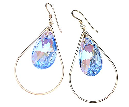 SELFIE EARRINGS Swarovski Crystal Tear Drop Dangle Blue 14K Gold Filled Drops for Women Jewelry - Birthday Wedding Anniversary Engagement Bridal Graduation Valentines Mothers Day gifts (Sake Blue) (Faceted Crystal Necklace Earrings)