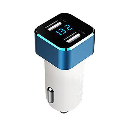 3.1A Intelligent Dual USB Car Charger on Cigarette Lighter with LED Display for iPhone, Samsung Galaxy Note, HTC, Motorola, Nexus, LG, iPad, MP3/ MP4,Android Smart Phone and Tablets - At San Outlet Diego