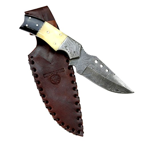 Hunt-Down-95-Damascus-Blade-Horn-Handle-Hunting-Knife-with-Leather-Sheath