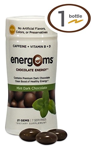 Energems Energy Boost Gems, 1 Bottle (21 Gems), Mint Chocolate by Energems