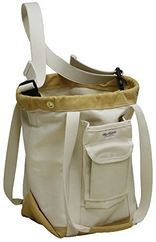 Large Round Tool Bag (Ruffian Heavy Canvas Sailboat Riggers Electric Utility Lineman Tool Bag with Shoulder Strap)