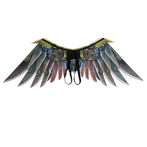 Fewear Feather Angel Wings Adult Children Unisex,Wings Halloween Mardi Gras Cosplay Pretend Play Dress Up Costume Accessory (Beige S) -