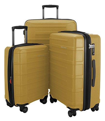 "HAUPTSTADTKOFFER Ostkreuz Luggages Set Matt Suitcase Set Hardside Spinner Trolley Expandable (20"", 24"" & 28"") TSA Chesse Yellow"
