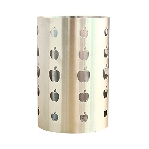 iecool Thicken Apple Shape Hole Stainless Steel Metal Chopstick Tube Silver S - Apple Utensil Holder