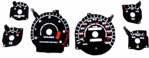 94-97 Dodge Ram Reverse Black Gauges White indiglo kit