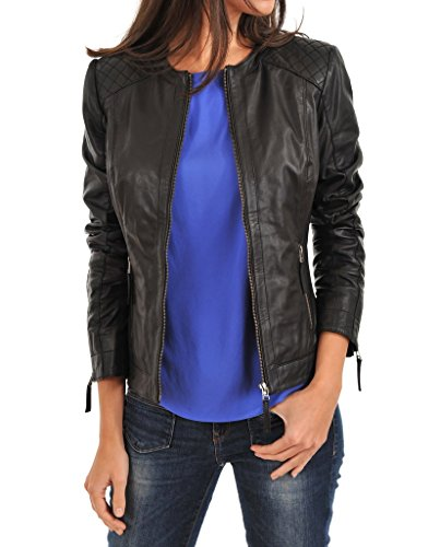 Leather Scan Women's Lambskin Leather Moto Bomber Biker Jacket