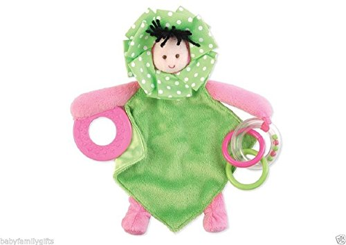 Mud Pie Little Sprout Baby Girl Plush and Satin Binkie Teether Ring Toy (Dark Hair Girl Teether)