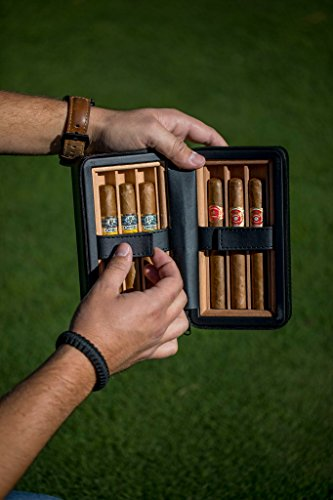Jamestown Cigar Barcelona Leather Travel Cigar Case - Handmade Cedar-Lined Travel Case Wrapped in Soft Synthetic Leather - Holds up to 6 Full-Size Cigars by Jamestown Cigar (Image #3)