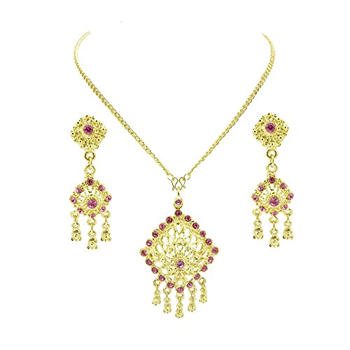 [Siwalai Thai Traditional Gold Plated Rose (Pink) Color Crystals Necklace Earrings Jewelry Set 24] (Thai Dance Costume)