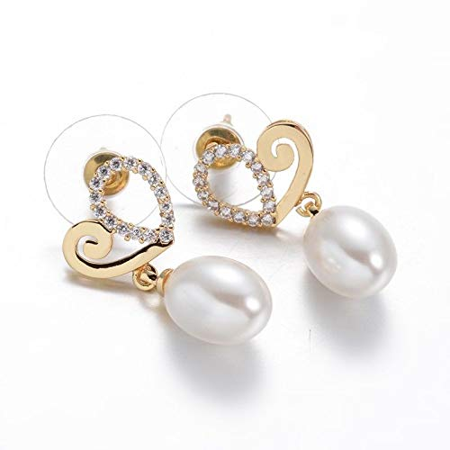 Authentic Pearl Jam - 1 Pair 0.8mm Glass Pearl Golden Heart Brass Micro Pave Cubic Zirconia Dangle Earrings