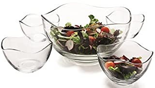 """Circleware 55635 Set of 5 Wavy Glass Mixing Bowls Set, Home Serving Dish Glassware for Fruits, Salad, Punch, Dessert, Food, Cheese, Candy, Ice Cream, Best Gifts, 1-10""""D, 4-5.25""""D, Gala 5pc (B00A1WFKB6) 