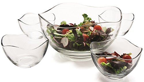 Circleware 55635 Set of 5 Wavy Glass Mixing Bowls Set, Home Serving Dish Glassware for Fruits, Salad, Punch, Dessert, Food, Cheese, Candy, Ice Cream, Best Gifts, 1-10