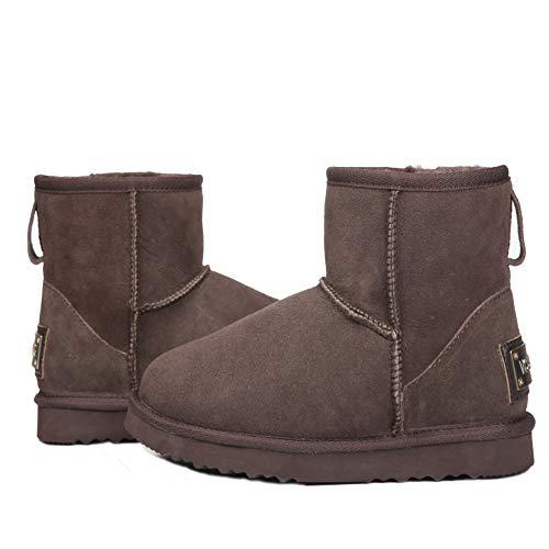 AUSLAND Cowhide Chocolate Leather Boot Classic f Women's Snow Short rCvPxqrwt