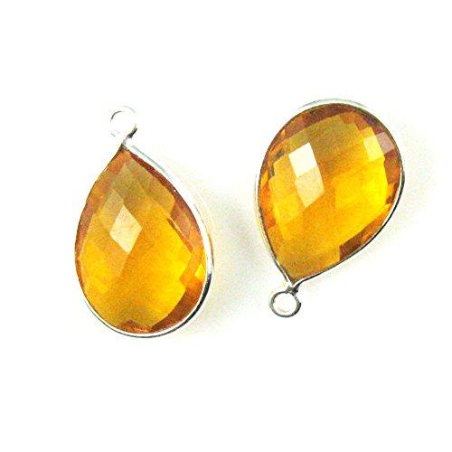 Gemstone Pendant - Sterling Silver - 13x18mm Faceted Pear Shape - Citrine Quartz (Sold Per 2 Pieces)