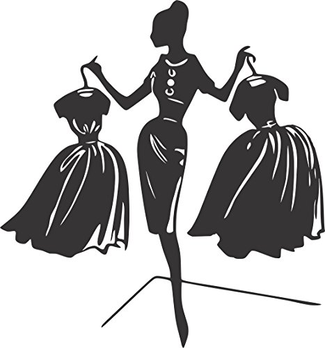 shion: Silhouette of Lady Holding Two Dresses - Wall Vinyl Decal Sign - (14 x 16 Inches) New Size ()