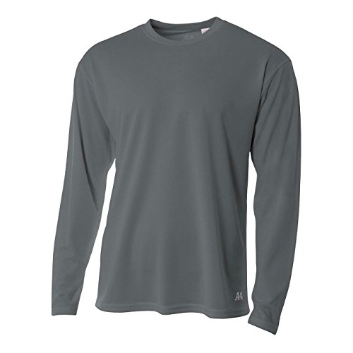 Polyester Mesh 100% - A4 Men's Long Sleeve Birds-Eye Mesh Crew, Graphite, X-Large
