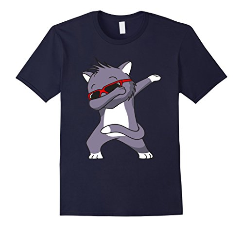 Mens Dabbing Cat T-Shirt Cat with cool sunglasses Large - Shirt Cat With Sunglasses T