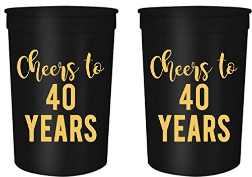 Favors For 40th Birthday (Cheers to 40 Years Birthday Party Cups, Set of 12, 16oz Black and Gold Stadium 40th Birthday Cups, Perfect for Birthday Parties, Birthday Decorations (40)