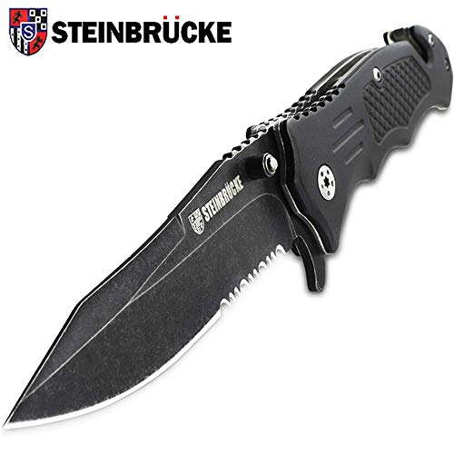 Steinbrucke Tactical Knife Spring Assisted Opening Pocket Knife Folding Stainless Steel 8Cr13Mov 3.4