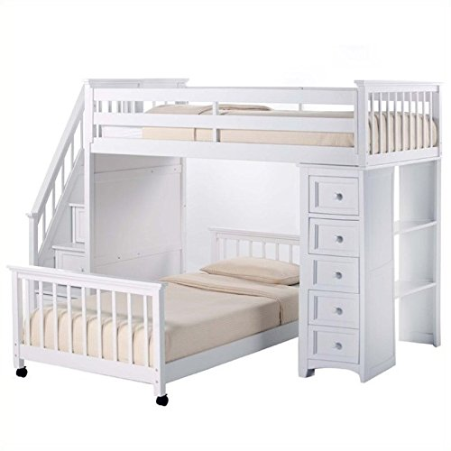 (NE Kids School House Stair Loft Bed with Chest End in White)