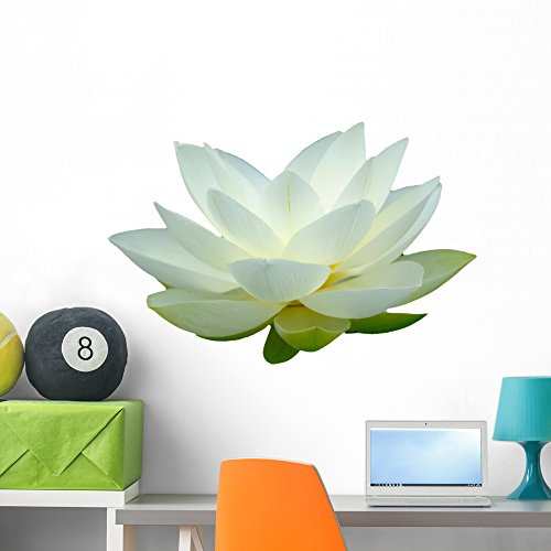 White Lotus Flower Wall Mural by Wallmonkeys Peel and Stick Graphic