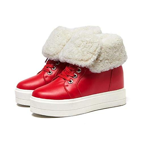 en Rond Daim Printemps Bout ZHZNVX Red Beige Confort Cuir Rouge Noir Chaussures Nappa Femme Baskets Automne PqqEB