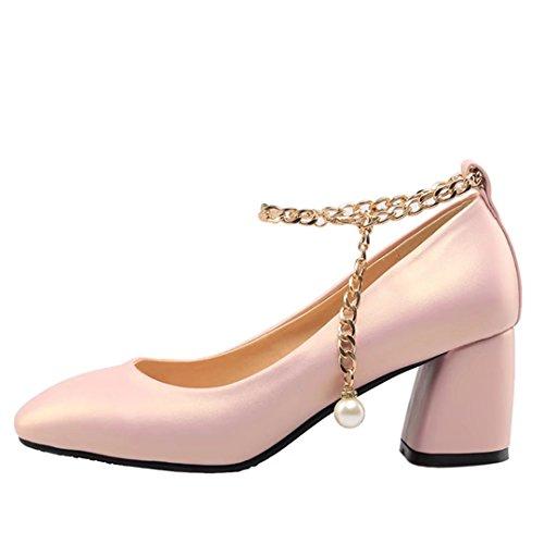 AIYOUMEI Damen Riemchen Blockabsatz Pumps mit 6cm Absatz und Perlen Modern Schuhe Rosa