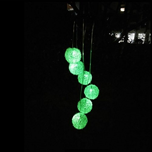 Solar Powered Wind Chimes Lights , Elsley Color Changing Waterproof Mobile LED Hanging Lamps, Indoor Outdoor Decoration Illumination Solar Wind Spinner (Dandelion) Solar Fld Light