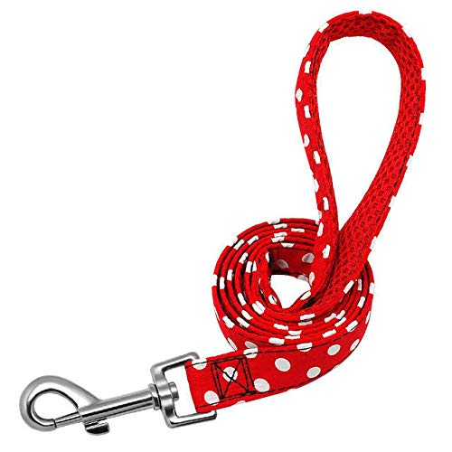 Dskjn Pet Walking Dog Leash Lead for Small Medium Dogs Cats Polka Dot Puppy Training Running Leashes Leads Outdoor Rope Belt 1.2M@Red