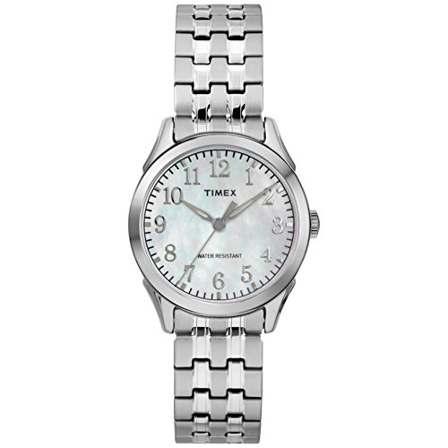 (Timex Women's TW2R48300 Briarwood Silver-Tone/MOP Stainless Steel Expansion Band Watch)