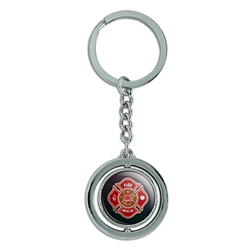 (Firefighter Fire Rescue Maltese Cross Spinning Round Chrome Plated Metal Keychain Key Chain Ring)