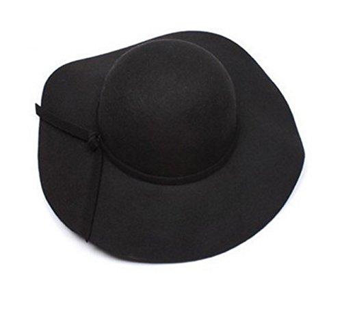 Onlineb2c Vintage Baby Girls Floppy Wide Brim Wool Felt Fedora Cloche Hat Cap (Black)