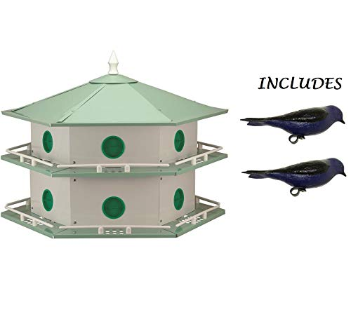 Heath Outdoor Products AH-12D 12 Room Aluminum Purple Martin House with (2) Decoys for attracting Purple Martins