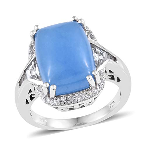 Cocktail Ring 925 Sterling Silver Platinum Plated Blue Jade White Topaz Jewelry for Women Size 5