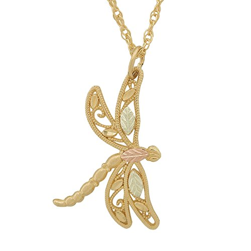 10k Dragonfly Black Hills Gold Pendant Necklace ()