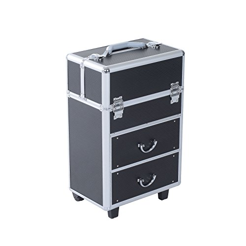 Soozier 4 Tier Lockable Cosmetic Makeup Train Case with Extendable Trays - Black ()