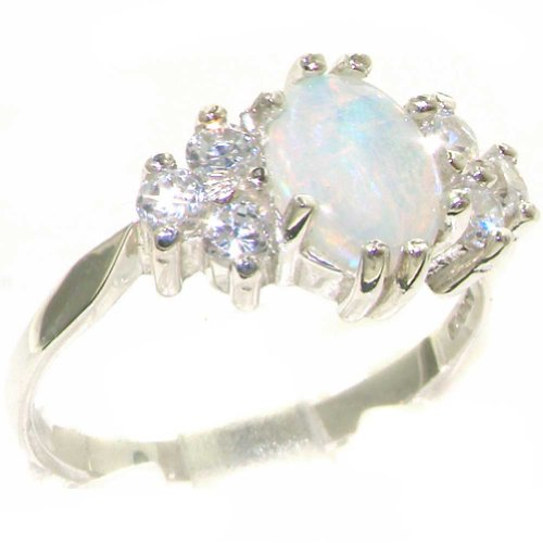 Diamond 14k Gold Estate Ring (14k White Gold Natural Opal and Diamond Womens Cluster Ring (0.36 cttw, H-I Color, I2-I3 Clarity))