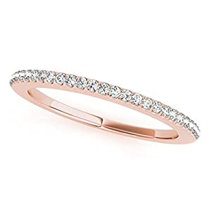 0.14 Carat Diamond Wedding Band In 14K Solid Rose Gold