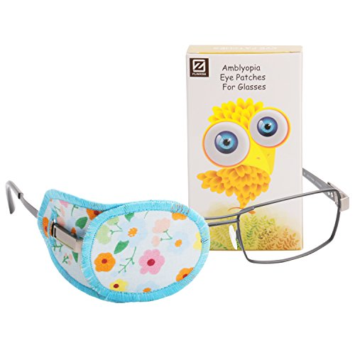 Plinrise Pure Cotton Amblyopia Eye Patch For Glasses,Treat Lazy Eye,Amblyopia And Strabismus,Eye Patch For Children,Regular Size(Blue Floral)