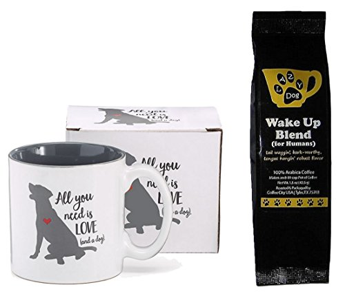 (Dog Coffee Mug and Coffee Gift Set - Puppy Dog Heart All You Need is Love and a Dog Mug Cup with Lazy Dog Wake Up Blend Coffee for Humans Bundle (2 Items))