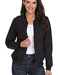Women's Bomber Jackets Long Sleeve Zip Up Lightweight Coat