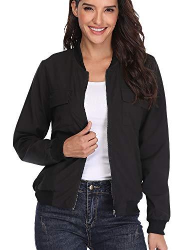 (MISS MOLY Womens Zip Up Bomber Jackets Long Sleeve Casual Lightweight Biker Coat Black XL)