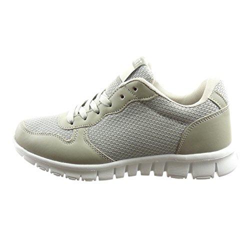 Sopily - Scarpe Da Donna Moda Sneaker Bi-materiale - Grigio