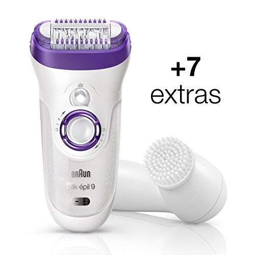Braun Silk-épil 9 Bonus edition Women's Epilator with 7 extras including a facial cleansing brush, Electric Hair Removal Wet&Dry Cordless epilator White/Violet by Braun