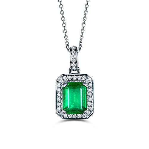 Beydodo 18K Necklace White Gold with Diamond Elegant Square Pendant with Emerald Valentines Day Necklace